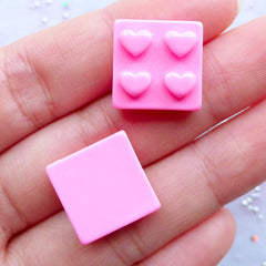 Building Block Cabochons with Heart Logo | Building Brick Cabochon | Kawaii Phone Decoration | Resin Toy Cabochon | Phone Case Decoden Supplies | Kitsch Jewellery Making (3pcs / Pink / 15mm x 15mm / Flat Back)