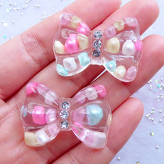 Transparent Bow Cabochons with Pastel Bubblegum Beads and Rhinestones | Resin Bow Flatback | Confetti Cabochon | Decoden Pieces | Kawaii Jewellery Making | Phone Embellishment (2pcs / Clear / 34mm x 24mm / Flat Back)