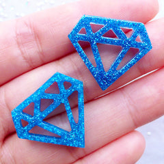 Diamond Cabochons with Glitter | Glittery Kawaii Cabochon | Resin Flatback | Decoden Pieces | Cell Phone Deco | Scrapbooking Supplies | Table Decoration (3pcs / Blue / 24mm x 20mm / Flat Back)