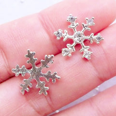 Small Rhinestone Snowflake Cabochons | Silver Snowflakes | Metal Snow Flakes | Winter Holiday Embellishments | Christmas Decoden Pieces | Phone Case Deco | Card Making (2 pcs / Silver / 12mm x 15mm / Flat Back)
