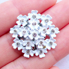 Enamel Flower Cluster Cabochon | Rhinestone Floral Hair Bow Center | Bling Bling Metal Decoden Cabochon | Wedding Embellishment | Scrapbooking Supplies (1 piece / White / 24mm x 24mm / Flat Back)