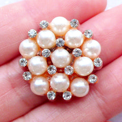 Pearl Floral Cabochon in Pentagon Shape | Metal Flower Cabochon | Hair Bow Center with Rhinestones | Bling Bling Cabochon | Sparkle Embellishment | Wedding Jewelry Making (1 piece / Rose Gold / 22mm x 22mm)