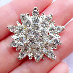 Crystal Flower Center | Rhinestone Floral Cabochon | Bling Bling Cabochon | Bridal Hair Jewellery Making | Sparkle Phone Case Decoration | Metal Embellishments (1 piece / 28mm x 30mm)