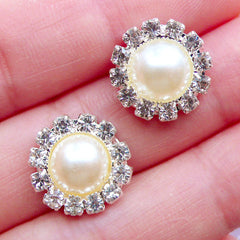 Flower Pearl Cabochons with Decorative Rhinestone Border | Crystal Floral Pearl | Small Hair Bow Center | Bling Bling Embellishments | Baby Hair Jewelry Making | Sparkle Metal Cabochon | Stud Earrings DIY (2pcs / Cream / 14mm)