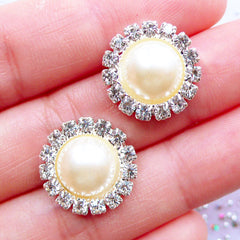 Rhinestone Pearl Cabochons | Crystal Flower Pearl with Decorative Border | Floral Hair Bow Center | Sparkle Embellishments | Bridal Hair Accessories DIY | Bling Bling Metal Cabochon | Stud Earrings Making (2pcs / Cream / 16mm)