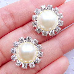 Crystal Pearl Cabochons | Rhinestone Floral Pearl with Decorative Border | Flower Hair Bow Center | Metal Embellishments | Sparkle Jewelry Supplies | Bling Bling Cabochon | DIY Stud Earrings (2pcs / Cream / 19mm)