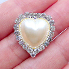 Puffy Heart Pearl Cabochon with Decorative Crystal Border | Rhinestone Pearl Flatback | Bling Bling Decoration | Jewel Embellishment Center | Hair Bow Jewelry Supplies | Metal Decoden Piece (1 piece / Cream / 19mm x 21mm)