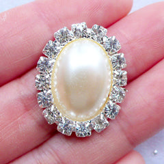 Oval Pearl Cabochon with Decorative Rhinestone Border | Crystal Pearl Flatback | Jewel Decoration | Embellishment Center | Hair Bow Jewellery Supplies | Bling Bling Decoden Phone Case (1 piece / Cream / 20mm x 26mm)