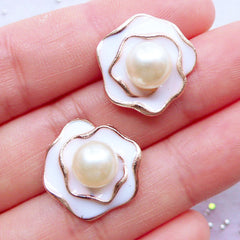 Enamel Flower Cabochons with Pearl | Rose Embellishment | Floral Decoden Cabochon | Table Scatter | Card Making | Stud Earrings DIY | Wedding Supplies (2 pcs / White / 17mm x 17mm)