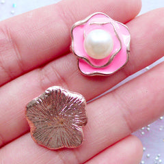 Rose Flower Enamel Cabochons with Pearl | Floral Embellishment | Decoden Piece | Card Decoration | Cell Phone Deco | Scrapbooking (2 pcs / Pink / 17mm x 17mm)