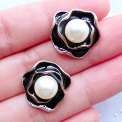 Floral Enamel Cabochons with Pearl | Flower Embellishment | Metal Rose Cabochon | Phone Decoration | Decoden Supplies | Hair Bow Centers (2 pcs / Black / 17mm x 17mm)