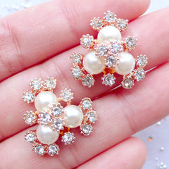 Flower Centers | Jewel Embellishment Center | Hairbow Supplies | Metal Cabochons with Rhinestones and Pearl | Bling Bling Phone Case Deco | Wedding Jewelry Making (2 pcs / Gold / 20mm x 20mm)