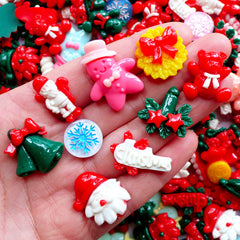 Assorted Christmas Cabochons | Christmas Embellishments | Resin Flatback | Christmas Decoden Supplies | Party Decoration | Table Scatter | Scrapbooking | Card Making (5pcs by Random / Flat Back)