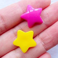 Colorful Puffy Star Cabochons | Candy Star Cabochon | Resin Star Flatback | Kawaii Star Embellishments | Hair Bow Centers | Decoden Phone Case (10pcs by Random / 17mm x 16mm / Flat Back)