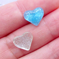 Mini Glittery Heart Cabochons | Tiny Resin Heart Flatback with Glitter | Shimmer Puffy Heart Cabochons | Decoden Phone Case | Kawaii Jewelry Making | Love Embellishments (10pcs by Random / 10mm x 9mm / Flat Back)
