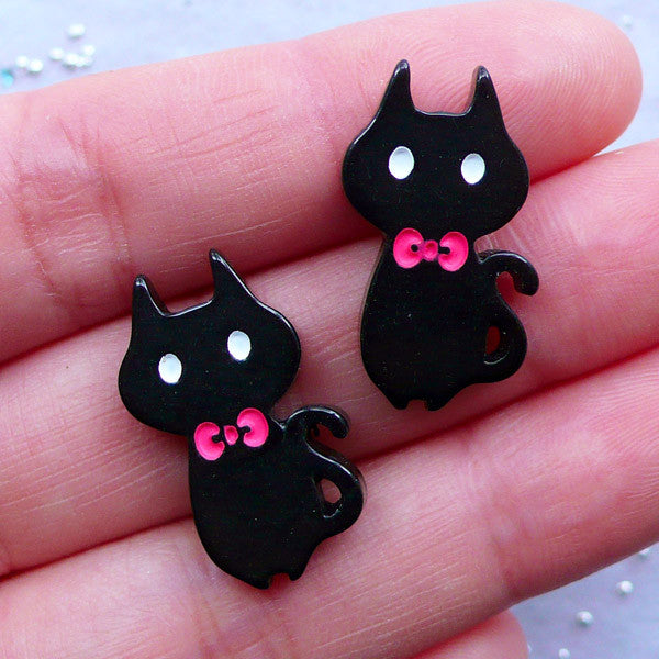 Black Cat Cabochons | Kitty with Bow Cabochon | Kawaii Animal Cabochon | Kitten Jewelry | Resin Decoden Pieces | Cute Embellishments (2pcs / Black / 14mm x 23mm)