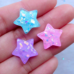 Magical Star Cabochons with Holographic Glitter Flakes | Iridescent Confetti Star Flatback | Kawaii Cabochons | Decoden Supplies (3pcs / Mix / 17mm x 16mm)