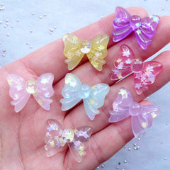 27MM KITTY BOWS Glitter Pastel Flatback Cabochons Kawaii Embellishments Charms