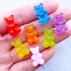 Bear Candy Cabochons | Fake Gummy Bear Cabochon | Sweet Deco | Faux Food Jewelry | Kawaii Decoden | Cute Cabochon (7pcs / Assorted Mix / 11mm x 17mm)
