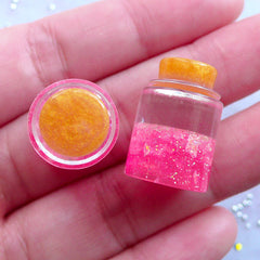 Dollhouse Fairy Bottle with Magic Dust | Glittery Tear Bottle Cabochon | Glitter Wishing Jar in 1:6 Scale | Kawaii Whimsical Jewelry (2pcs / Dark Pink / 3D / 14mm x 21mm)