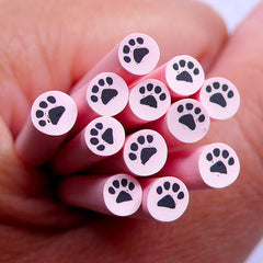 Animal Paw Polymer Clay Cane | Kawaii Fimo Rod Supplies | Cute Nail Art Design
