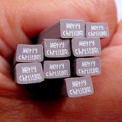 Christmas Nail Art Fimo Cane Merry Christmas Chocolate Tag Polymer