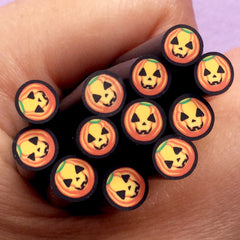 Pumpkin Fimo Cane /  Halloween Polymer Clay Cane (1 Piece) Party Nail Art Spooky Nail Deco Earring Making Embellishment Scrapbooking CE073