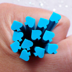 Spade Suit Polymer Clay Cane | Alice in Wonderland Fimo Cane | Poker Nail Decoration (Blue)