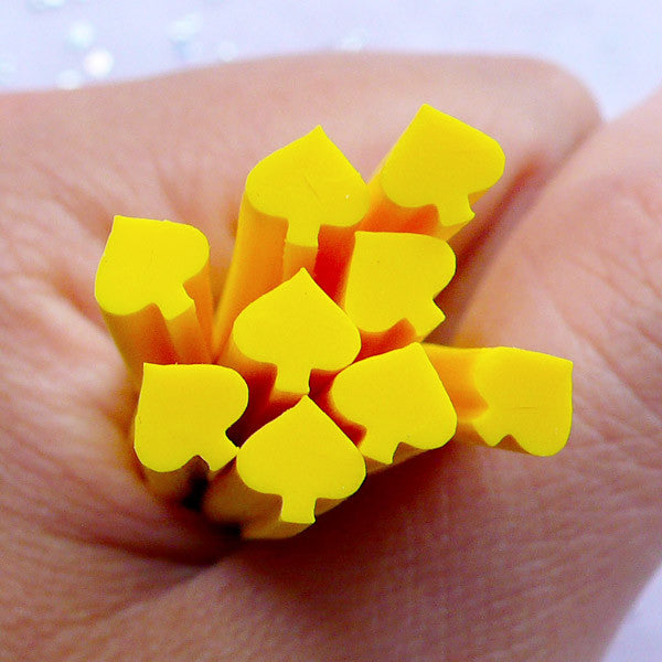 Card Suit Spade Polymer Clay Cane | Nail Art Fimo Canes | Poker Embellishments (Yellow)