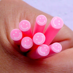 Happy Face Polymer Clay Cane | Smiley Fimo Canes | Kawaii Nail Art Embellishments (Light Pink)