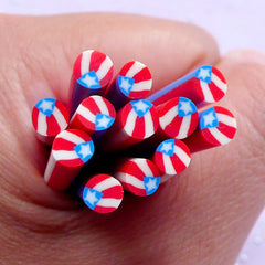 Flag of Puerto Rico Polymer Clay Canes | Puerto Rican Flag Fimo Cane | Patriotic Nail Art