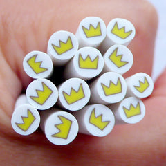 Yellow Crown Fimo Cane | Kawaii Polymer Clay Cane | Scrapbooking Supplies | Card Embellishments | Stud Earrings Making | Nail Decoration | Mixed Media Art | Filling for Resin Crafts