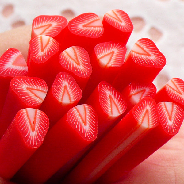 Polymer Clay Cane Strawberry Cane Fruit Fimo Cane (Cane or Slices) Miniature Sweets Dollhouse Ice Cream Sundae Decoration Nail Art CF006