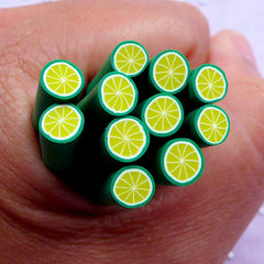 Miniature Green Lime Clay Cane | Citrus Fruit Polymer Clay Canes | Fimo Nail Art Design & Dollhouse Food Craft