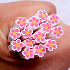 Floral Polymer Clay Cane | Pink Flower Fimo Cane | Nail Art Design & Resin Craft Supplies