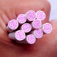 Rose Polymer Clay Cane | Floral Fimo Clay Cane | Flower Nail Design & Scrapbooking Supplies