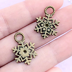 CLEARANCE Snowflakes Charms Antique Bronzed (4pcs) (15mm x 21mm) Metal Finding Pendant Bracelet Earrings Zipper Pulls Bookmarks Key Chains CHM017