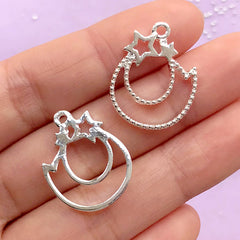 Small Shooting Star Open Bezel Charm | Kawaii Jewellery Supplies | Cute Deco Frame for UV Resin Filling (2 pcs / Silver / 18mm x 23mm)