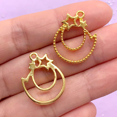 Kawaii Shooting Star Open Back Bezel Charm | Resin Jewelry Making | Magical Deco Frame for UV Resin Crafts (2 pcs / Gold / 18mm x 23mm)