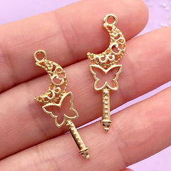 Filigree Moon and Butterfly Magic Wand Open Backed Bezel Charm | UV Resin Jewellery Making | Magical Girl Pendant (2 pcs / Gold / 10mm x 30mm)