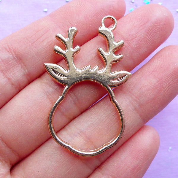 Fatty Deer Head Open Backed Bezel Charm | Kawaii Christmas Ornament | Animal Deco Frame for UV Resin Crafts (1 piece / Gold / 25mm x 39mm / 2 Sided)