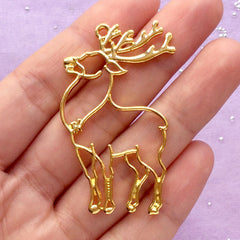 Christmas Reindeer Open Backed Bezel Pendant | Outlined Deer Charm | Kawaii UV Resin Craft Supplies (1 piece / Gold / 30mm x 49mm)