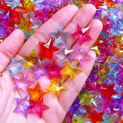 Assorted Acrylic Star Charms | Cute Plastic Charm | Kawaii Chunky Jewelry Making (20 pcs / Colorful Mix / 19mm x 18mm)