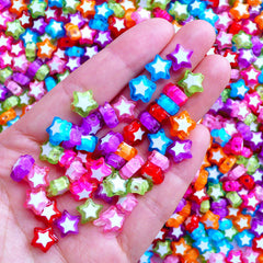 Small Acrylic Star Beads | Kawaii Chunky Bead | Colorful Kandi Jewelry Making | Cute Plastic Beads (30 pcs / Assorted Color Mix / 9mm x 9mm)