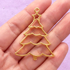 Christmas Tree Open Bezel | Hollow Charm for UV Resin Filling | Kawaii Christmas Ornament Making (1 piece / Gold / 34mm x 44mm)