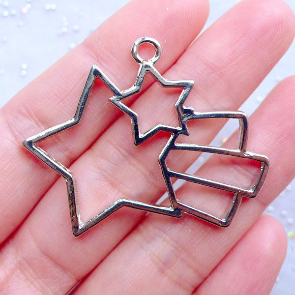 Magical Shooting Star Deco Frame for UV Resin Filling | Kawaii Open Bezel Charm for Resin Art | Mahou Kei Jewellery Making (1 piece / Silver / 43mm x 34mm)