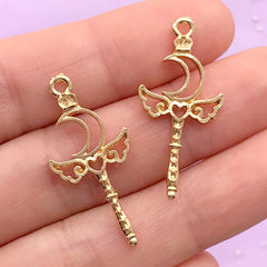 Mini Winged Moon Magic Wand Open Back Bezel Charm | Kawaii UV Resin Craft Supplies | Magical Girl Accessories Making (2 pcs / Gold / 14mm x 30mm)