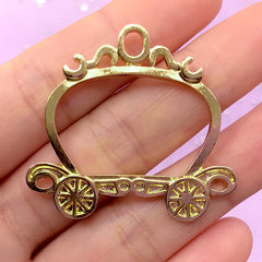 Pumpkin Carriage Open Back Bezel Charm | Pumpkin Coach Pendant | Cinderella Jewelry Making | Hollow Deco Frame for Kawaii UV Resin Filling (1 piece / Gold / 40mm x 37mm)