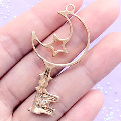 Mahou Kei Moon and Star Key Open Back Bezel Pendant | Magical Girl Wand Charm | Kawaii Jewellery Supplies | UV Resin Crafts (1 piece / Gold / 27mm x 52mm)