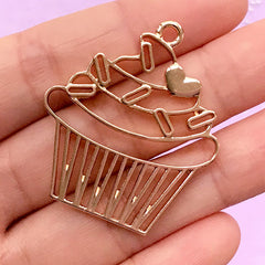 Cupcake Open Back Bezel Pendant | Fairy Cake Deco Frame for UV Resin Craft | Kawaii Resin Jewellery Making (1 piece / Gold / 33mm x 38mm)